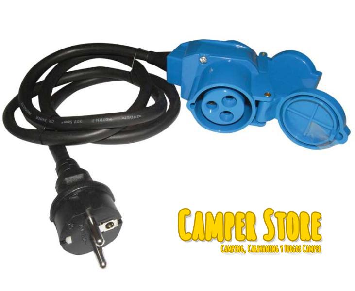 Cable adaptador para toma exterior hembra a 230v macho de for Enchufes para exterior