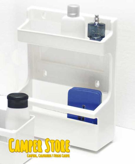 Estante de pl stico con doble repisa para ba os camperstore for Revestimiento plastico para banos